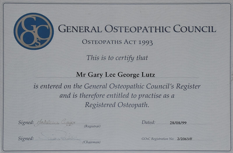 General Osteopathic council certification