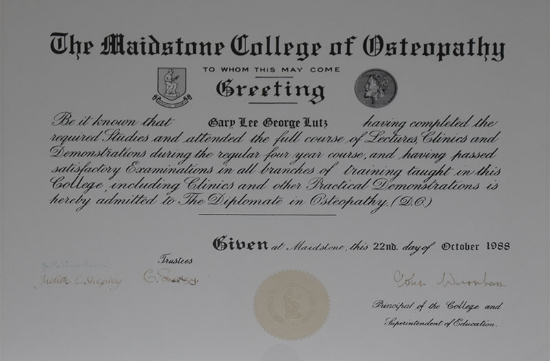 Osteopathy certificate by Maidstone college